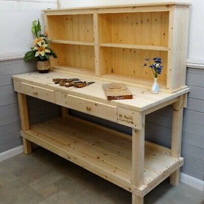 Carpenters Workbench Retro Old School Woodworking Bench Vintage With 2 Vice 195 00 Picclick Uk