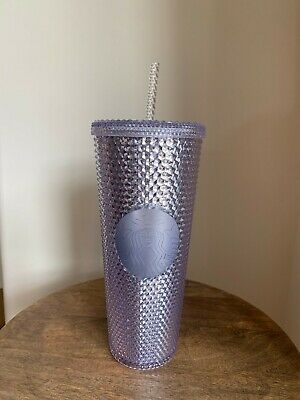 NEW 2019 Starbucks Bling Platinum Studded Venti Cold Cup Tumbler SHIPS NOW FAST