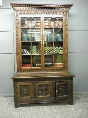 Large Oak Antique Victorian Bookcase