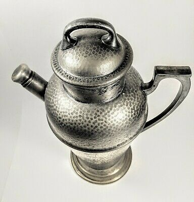 Vintage Art Deco  Cocktail Shaker Hammered EPN Silver Plated withCork Inner Cap