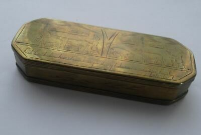 GOOD ANTIQUE 18th CENTURY BRASS DUTCH TOBACCO BOX, ENGRAVED AGRICULTURAL SCENE