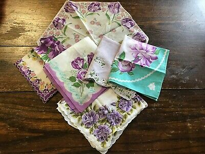 Lot of 6 Vintage Handkerchiefs Hankies Flowered Floral Scalloped Purples Aqua