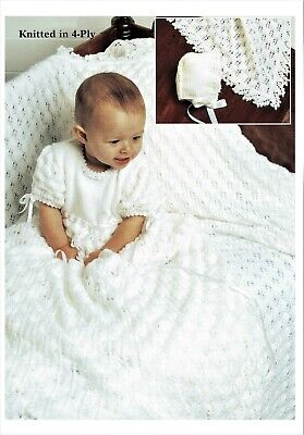 "Baby Christening Dress and Shawl//Blanket 3ply Crochet Pattern 18-19/""  508"