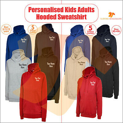 Personalised Kids Adults Pullover Custom Printed Any Text Name Hooded Sweatshirt