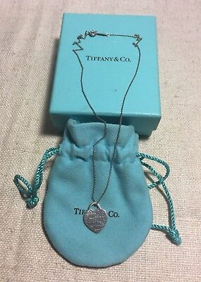 Tiffany & Co. Authentic Sterling Silver Notes Fifth Ave NY Heart Necklace