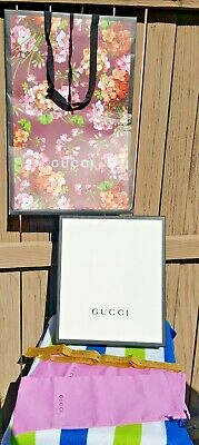 """Gucci Large (Empty) Gift/Storage Box ~14.25""""x12""""x4.5""""+ 2 Pink Dustbags & PPR Bag"""
