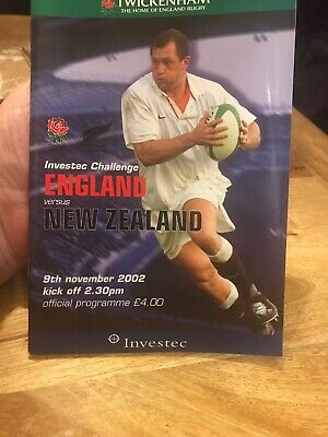 ENGLAND v NEW ZEALAND 9TH NOVEMBER 2002 RUGBY PROGRAMME - TWICKENHAM