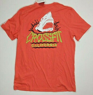 Reebok Crossfit Mens Size Large Orange California Shark Cotton Graphic T Shirt