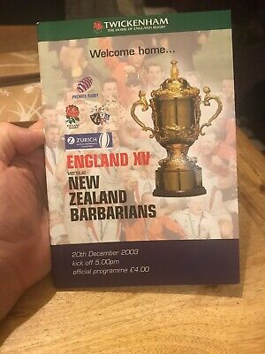 ENGLAND v NEW ZEALAND BARBARIANS 20TH DECEMBER 2003 RUGBY PROGRAMME - TWICKENHAM