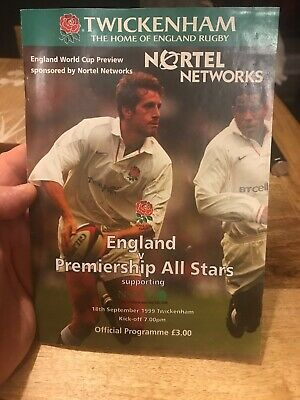 Rugby World Cup 1999 Preview Match Programme England V Premiership All Stars.