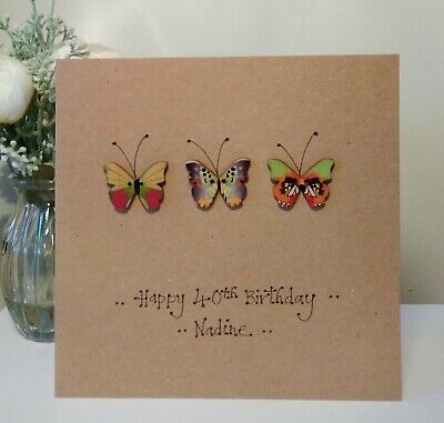 Poppies /& Butterflies any age name Handmade Personalised Birthday Card
