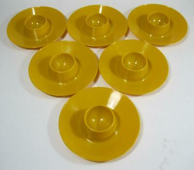 Retro vintage 70s space-age deep yellow plastic Decor egg cups x 6 kartell-era