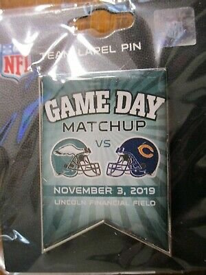 Philadelphia Eagles VS Chicago Bears November 3, 2019 NFL Game Day Pin NEW