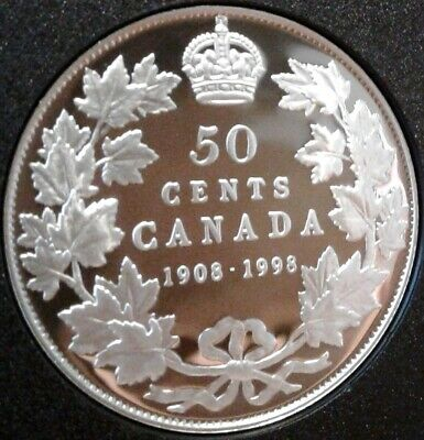 1908-1998 CANADA UNC PROOF SILVER 50 CENTS Coin - RCM 90th Anniversary