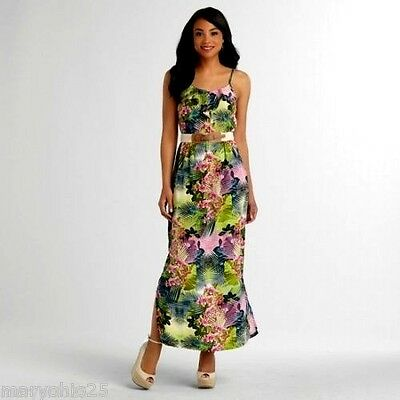 NEW Womens Green Pink White Multi Maxi Summer Long Strap-on DRESS Juniors XS S