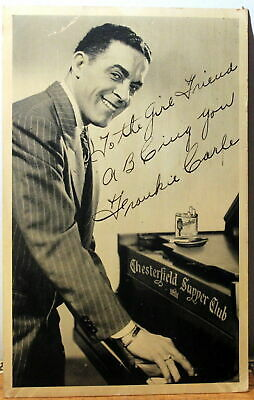 Frankie Carle 1940-5-'s Pianist Autographed Real Photo postcard, Chesterfield