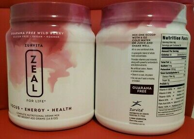 2x Zurvita- Zeal for Life- 30-Day Wellness Canister- Wild Berry (Guarana Free)