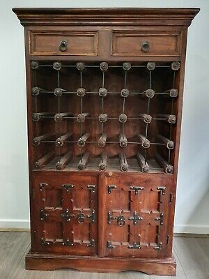 Antique Indian Carved Acaia Wine Cabinet