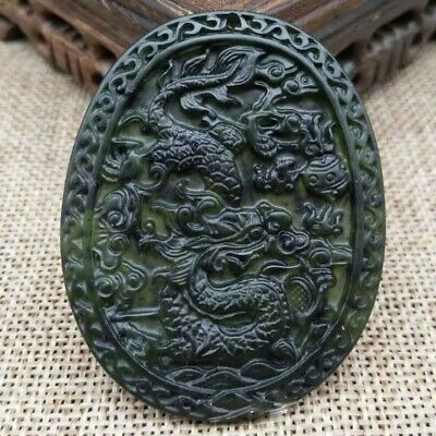 Chinese Natural Black & Green Jade Dragon Hand Carved Pendant Lucky Amulet Gift
