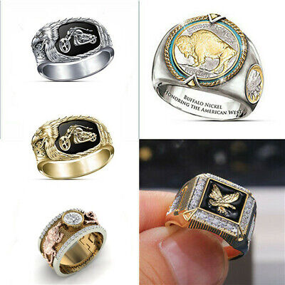 Hip Hop Two-tone Silver Gold Men Rings Jewelry Viking Bull Stainless Steel Ring