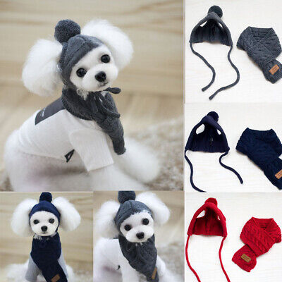 Winter Warm Hat+Scarf Dog Cat Clothes For Small Pets Knitted Cap Xmas Costume
