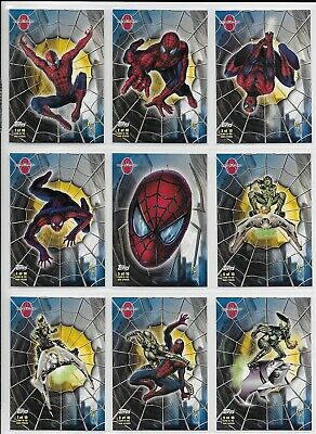 Topps 2002 Spiderman Movie GLOW IN DARK STICKERS Complete INSERT CARD Set 1-10