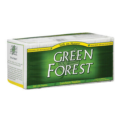 Green Forest Luncheon Napkins - White - Case of 12 - 250 Count