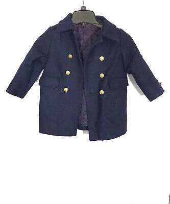 Vintage Fieldston Clothes Navy Kids Size 4 Wool Coat Jacket With USN Helmsman