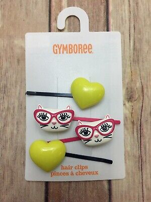 New Gymboree Posh and Playful Line Hair Clips Heart Kitty Cat 4 Pack Bobby Pins