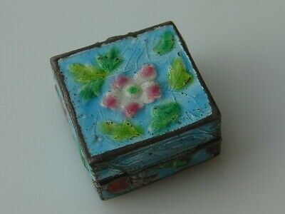 Vintage Chinese Import Small Square Pill Snuff Box Enamel Flower Stamped China