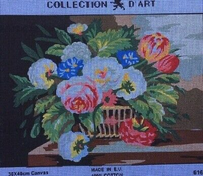 Tapestry - Printed Canvas - Flower Basket - Made in EU for Collection D'Art
