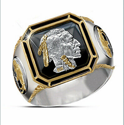 Hip Hop 925 Silver Mens Rings Two Tone 18K Gold Jewelry Viking Bull Size 6-13