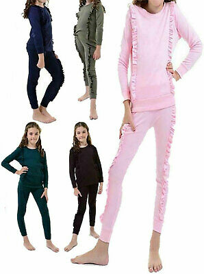 Childrens Long Sleeve Duel Frill Track Suit Girl Loungewear Jogger 2 Pc Set