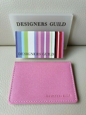 Designers Guild Pink Textured Leather Credit Card / ID Holder *NEW*