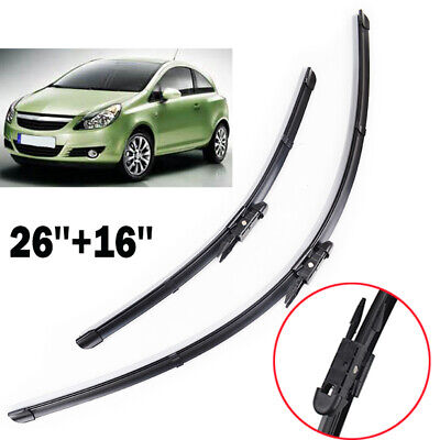 Front Windscreen 26 16 Flat Wiper Blades Set For Corsa D 2006-2015