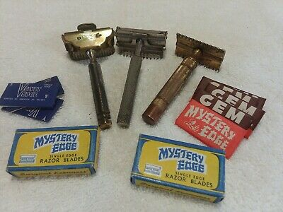 VINTAGE lot of 3 razors with multiple extra single edge blades