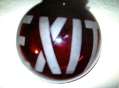 1930's MOVIE THEATRE EXIT SIGN art deco RUBY RED GLASS GLOBE ETCHED ORIGINAL