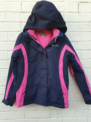 Girls Fleece lined Mountain Warehouse Coat Age 11- 12 Years Navy and Pink.