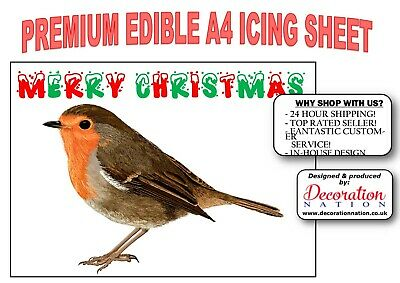 BIRDS BIRTHDAY  PERSONALISED CAKE TOPPER A4  EDIBLE ICED// ICING ROBINS