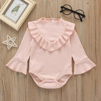 Newborn Baby Girl Ruffle Clothes Long Sleeve Jumpsuit Romper Bodysuit Outfits