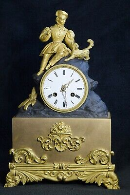 Antique French Japy Freres Ormolu / Patinatinated Bronze Mantel Clock 1830s