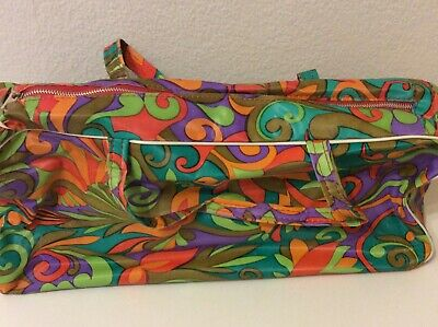 Vintage 1970s Bright Psychedelic Vinyl Zipped Knitting Bag.