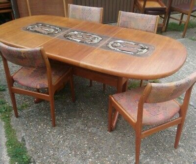 Stunning Vintage Mid-century Solid Danish Farstrup Teak Tiled Table And 4 Chairs