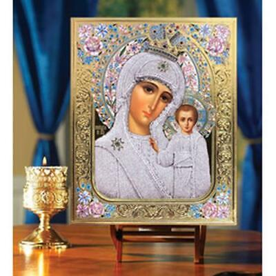 "Virgin of Kazan Russian Icon Wooden Gold Foil Embossed 10""x 8 1/4"""