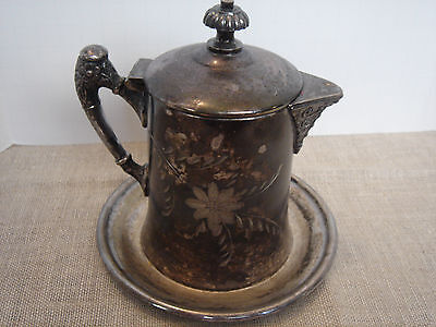 "Vintage Victorian Silverplated Syrup Pitcher on Dish  Maker ""Van Bergh"" Etched"