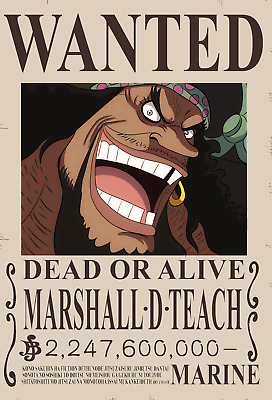 Poster A3 One Piece Marshall D Teach Kurohige Recompensa Se Busca Wanted Bounty