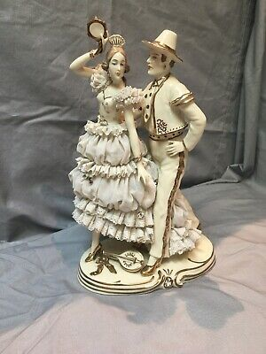 """Dresden Lace Figurine Group Germany 10"""""""