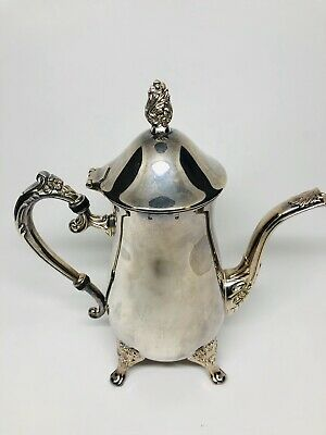 """Antique Vintage Silver Plated Teapot Victorian Style Elegant Footed 9"""" High"""