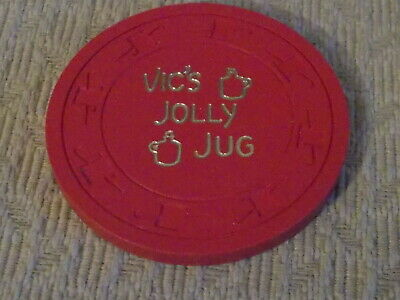 VIC'S JOLLY JUG CASINO $0.25 (25¢) hotel casino gaming poker chip ~ Pittman, NV