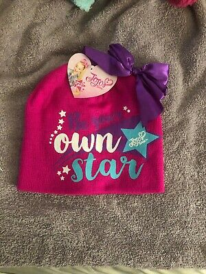 New! Girls Nickelodeon JoJo Siwa Be Your Own Star Pink Beanie Bow Hat One Size